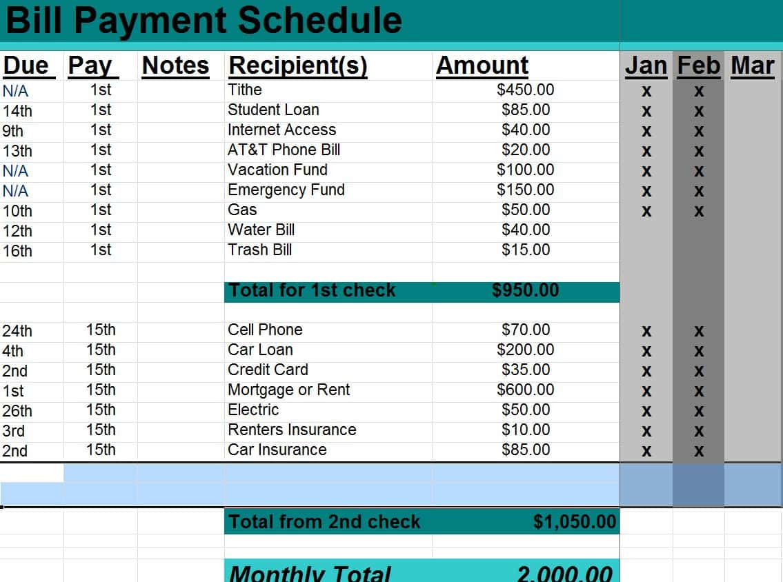 Free Bill Payment Schedule Template And Payment Schedule Template Contract
