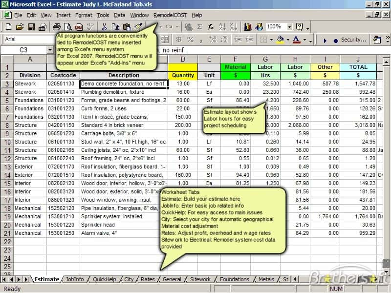 Free Construction Estimate Template For Excel And Excel Sheets Cost Estimation Civil Engineering