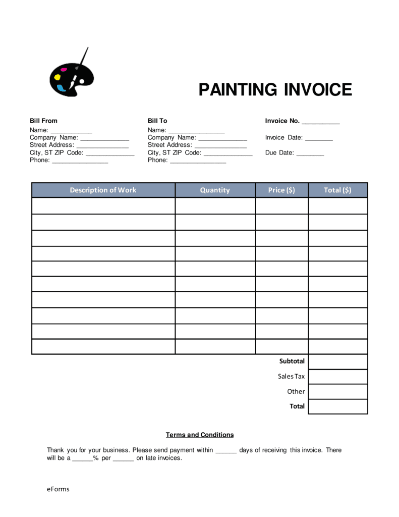 Free Painting Invoice Template Download And Painting Quote Template Free Download