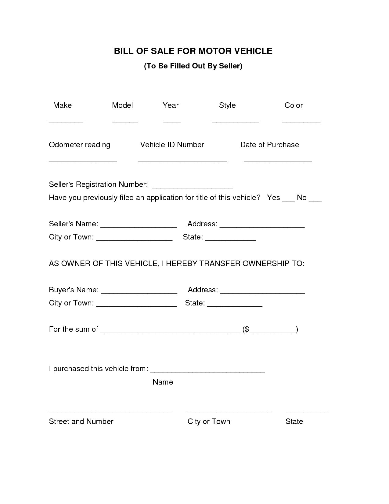 Free Printable Texas Bill Of Sale Form And Blank Bill Of Sale