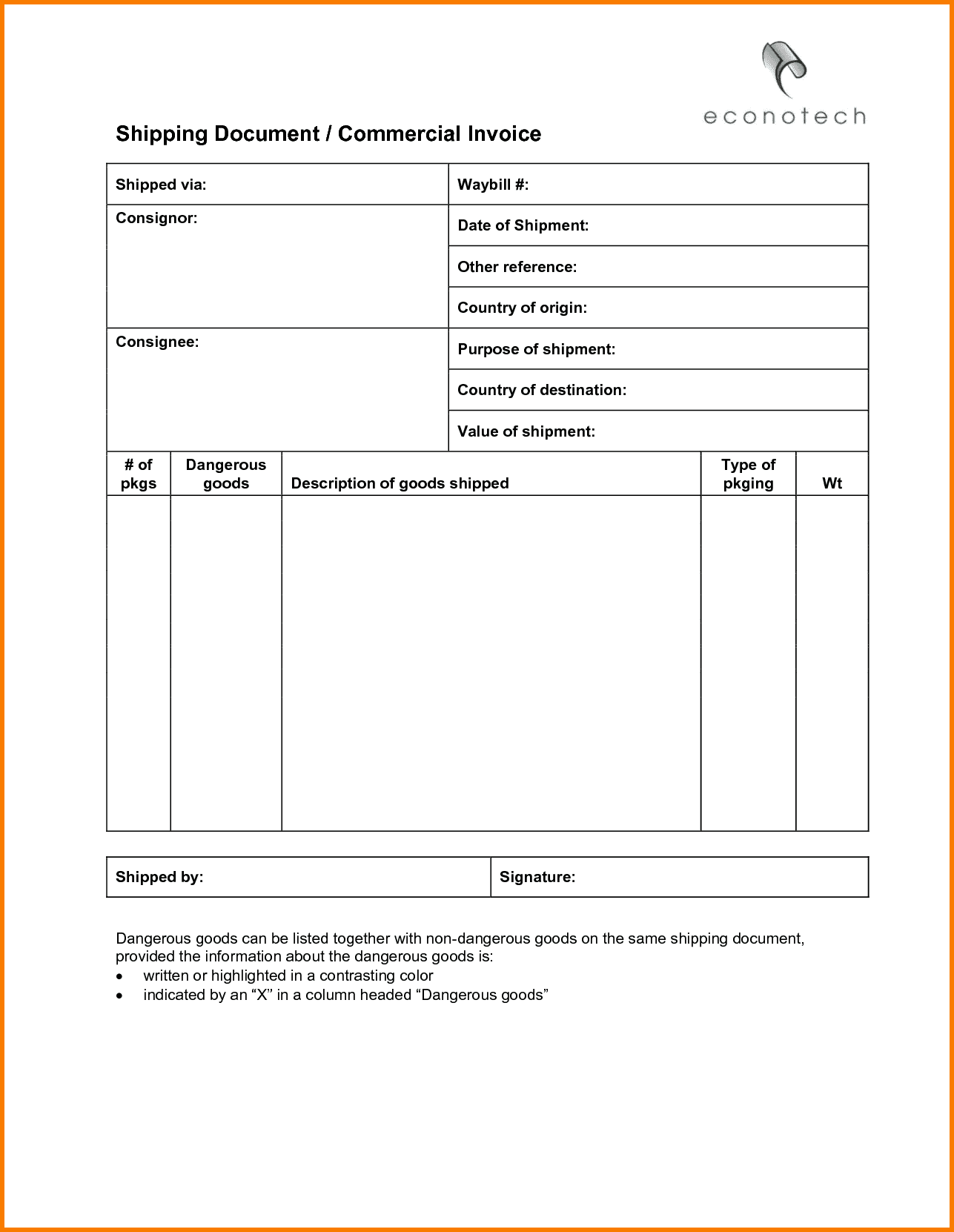 Freight Invoice Format In Excel And Trucking Invoice Template