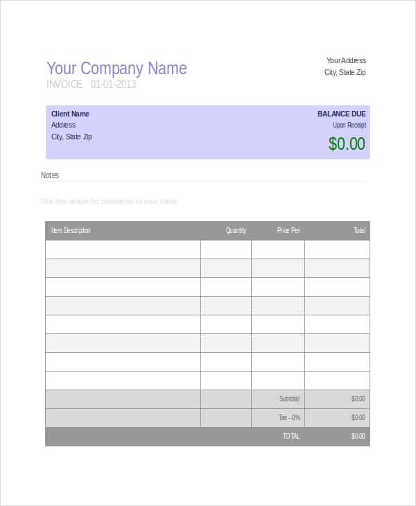 Invoice Template Excel Microsoft And Invoice Template Excel Basic