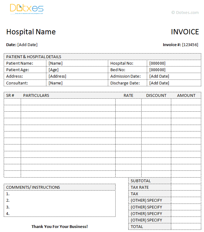 Medical Bill Template Pdf And Online Medical Bills Format