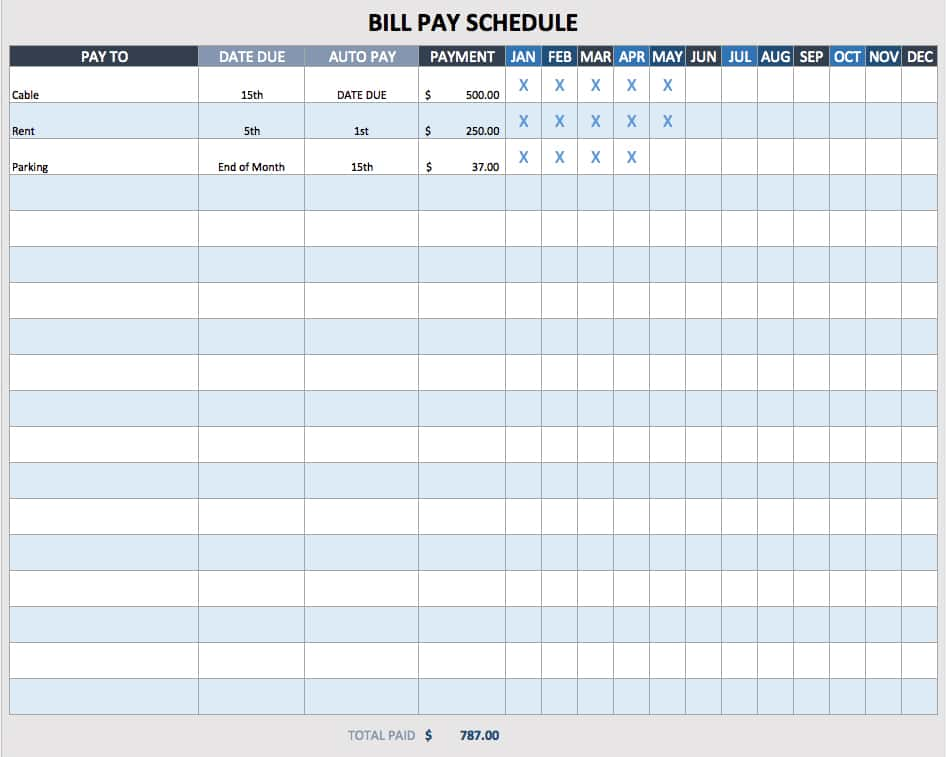 Monthly Bill Payment Schedule Template Excel And Free Printable Bill Payment Schedule