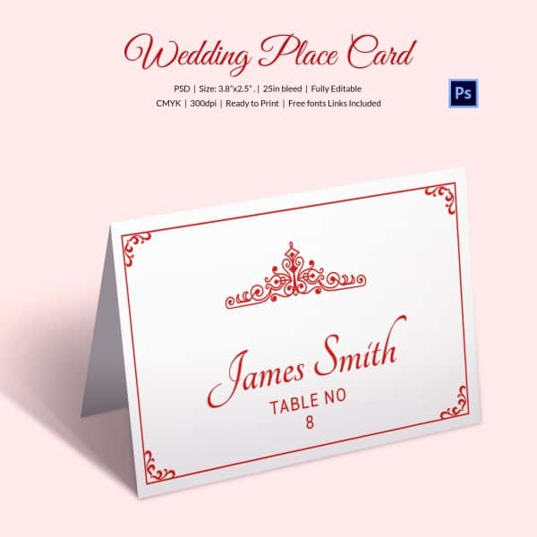 Place Card Template Free Download And Name Card Sample