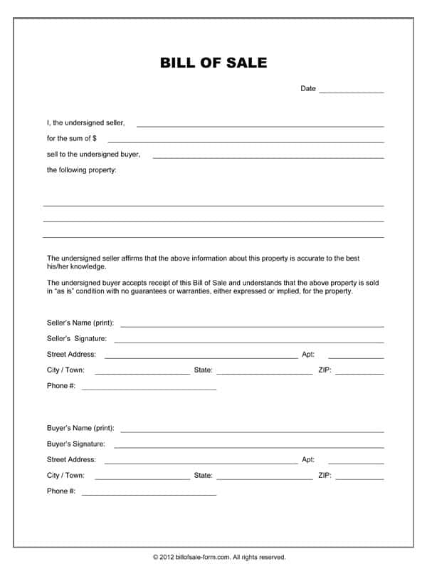 Printable Equipment Bill Of Sale Form And Bill Of Sale Form Used Equipment