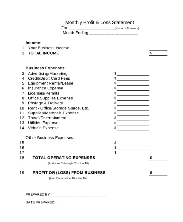 Profit And Loss Worksheet And Self Employed Profit And Loss