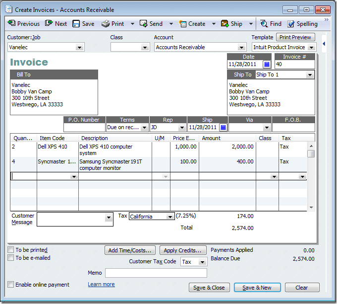 Quickbooks Invoice Template For Excel And Sample Invoice From Quickbooks