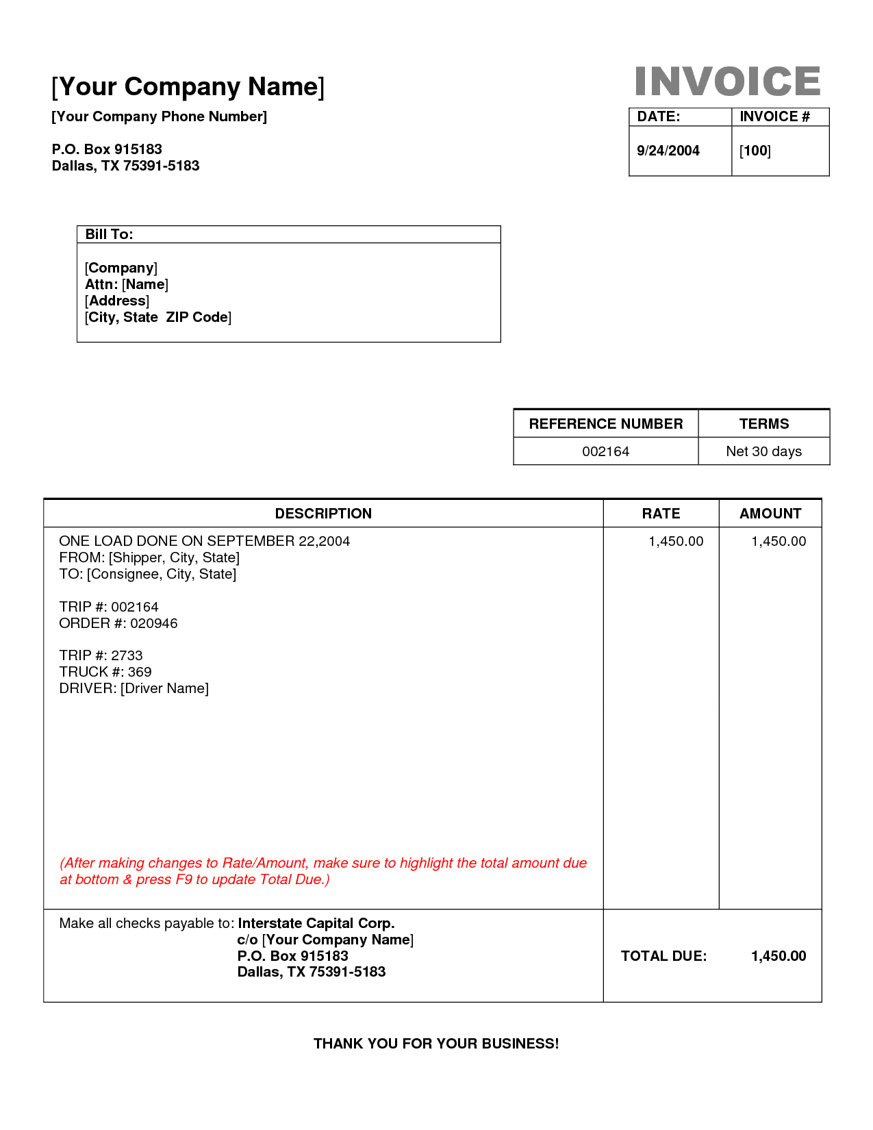 Sample Of Trucking Invoice And Free Trucking Invoice Template