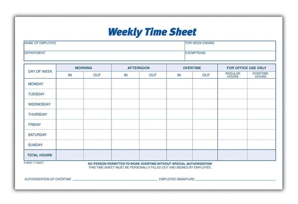 Sample Timesheet For Salaried Employees And Sample Weekly Time Sheets