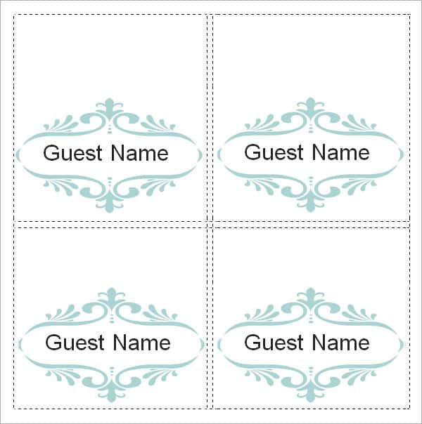 Template For 4 Cards Per Sheet And Tent Card Design Template