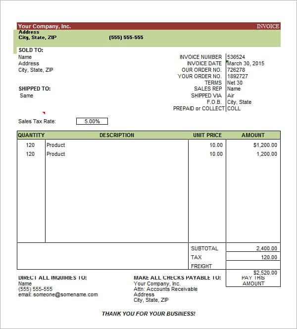 Templates Invoices Free Excel And Professional Service Invoice Template