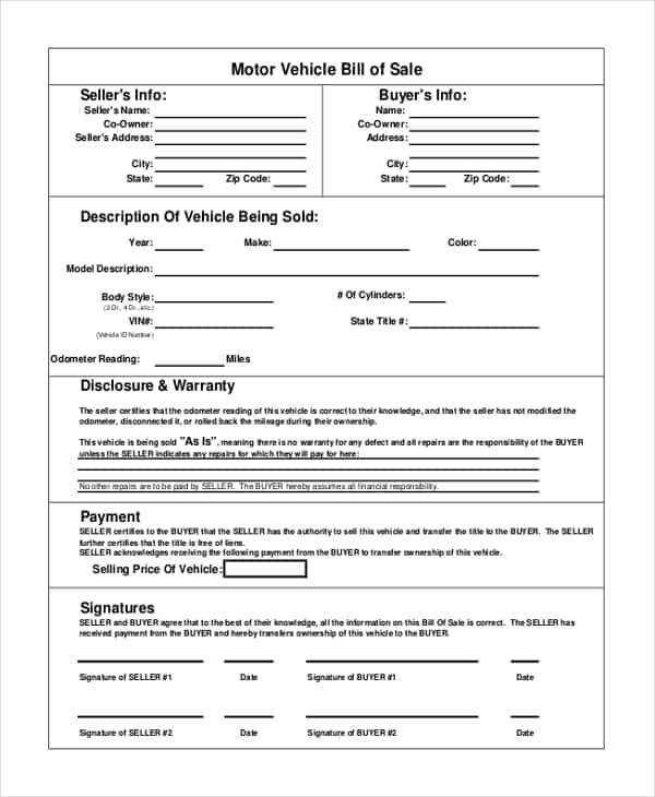 Automobile Bill Of Sale Form Tennessee Free And Auto Bill Of Sale Template Florida