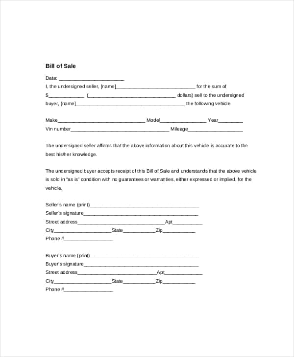 Car Bill Of Sale Example Template And Used Car Bill Of Sale Template Pdf