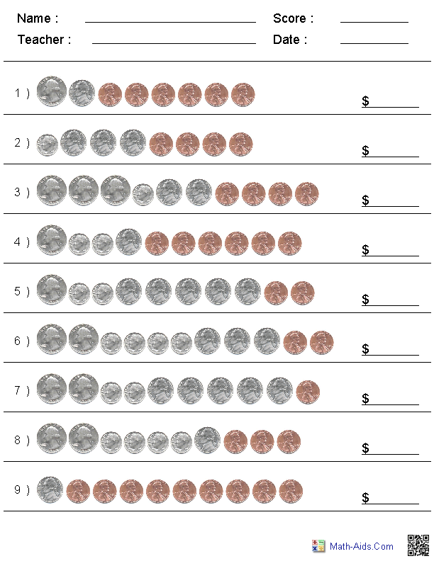 Coin Value Matching Worksheet And Discovery Coin Value