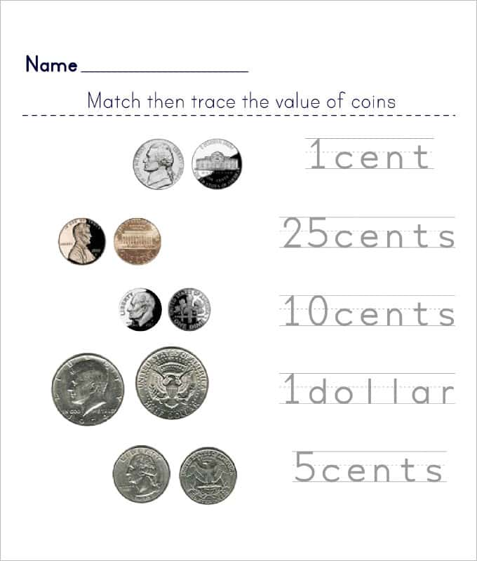 Coin Value Printable Worksheets And Coin Worksheets Kindergarten