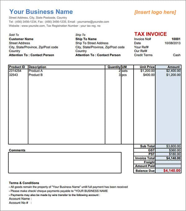 Downloadable Blank Invoice Template And Free Downloadable Invoice Template Uk