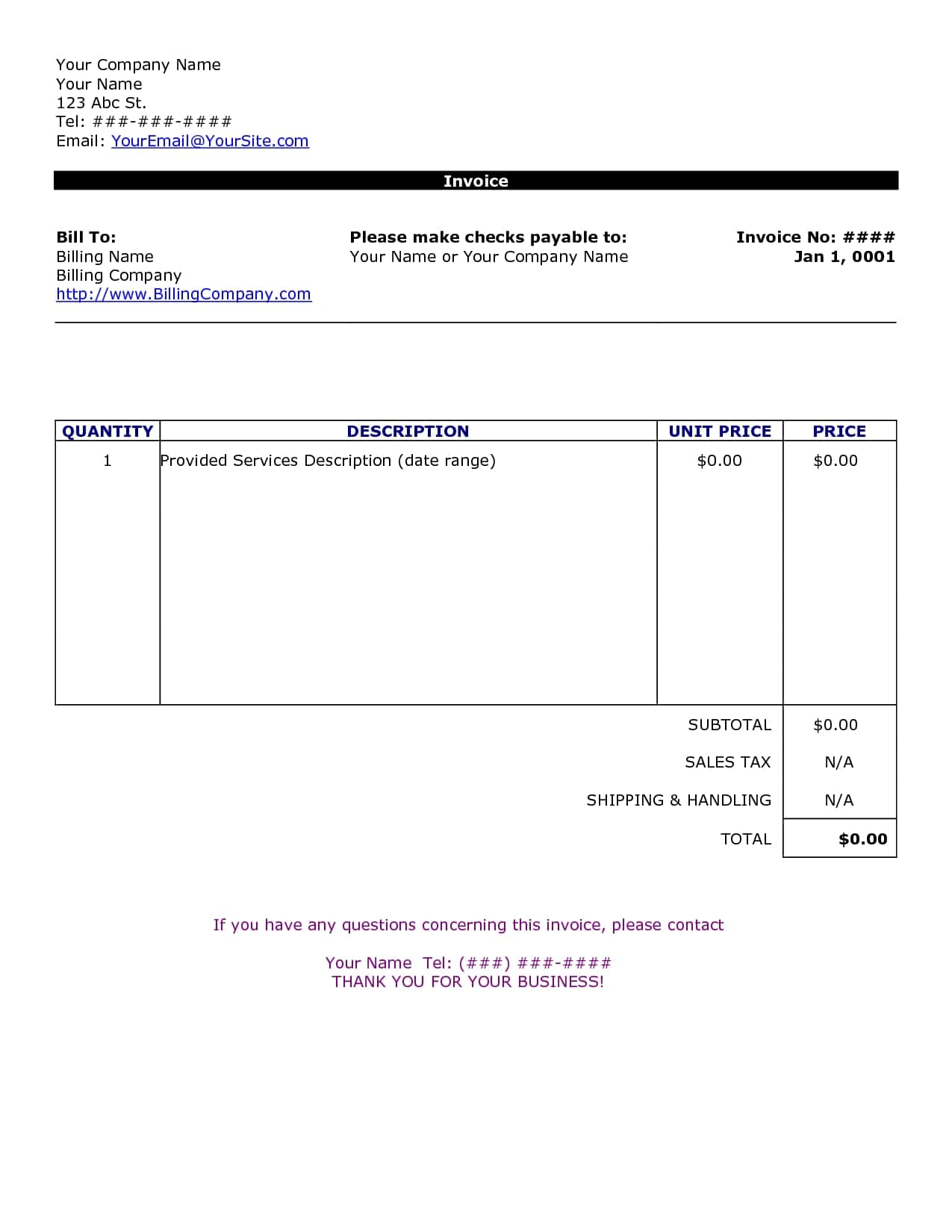 Easy Printable Invoice And Flooring Invoice Template