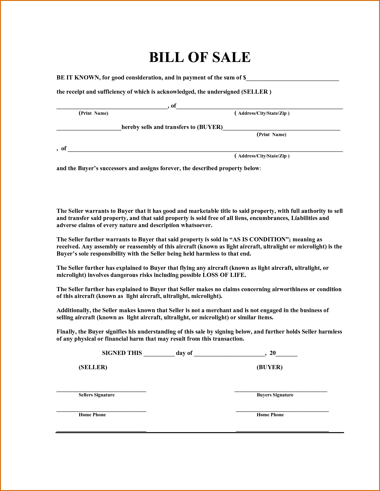 Equipment Bill Of Sale Template Utah And General Bill Of Sale Form Pdf