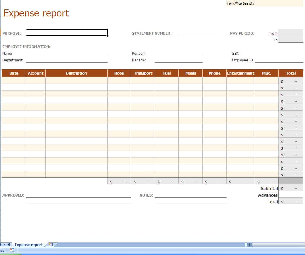 Example Of Travel Expense Report And Example Of Business Expense Report
