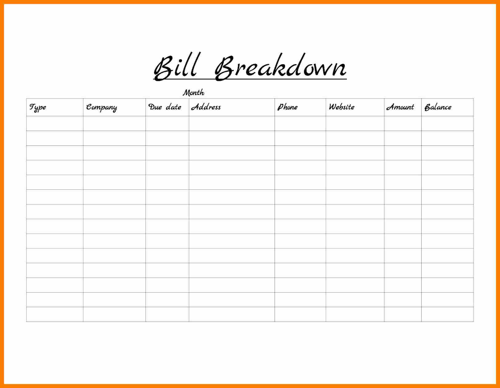 Monthly Bill Tracker Template Free And Free Monthly Bill Payment Schedule Template
