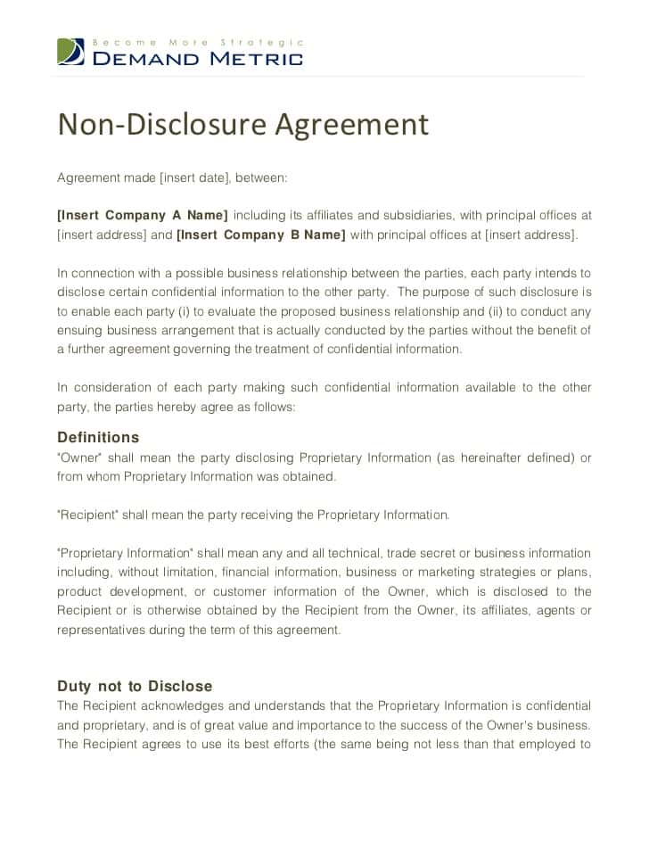 Non Disclosure Agreement Template Canada And Non Disclosure Agreement Sample Doc