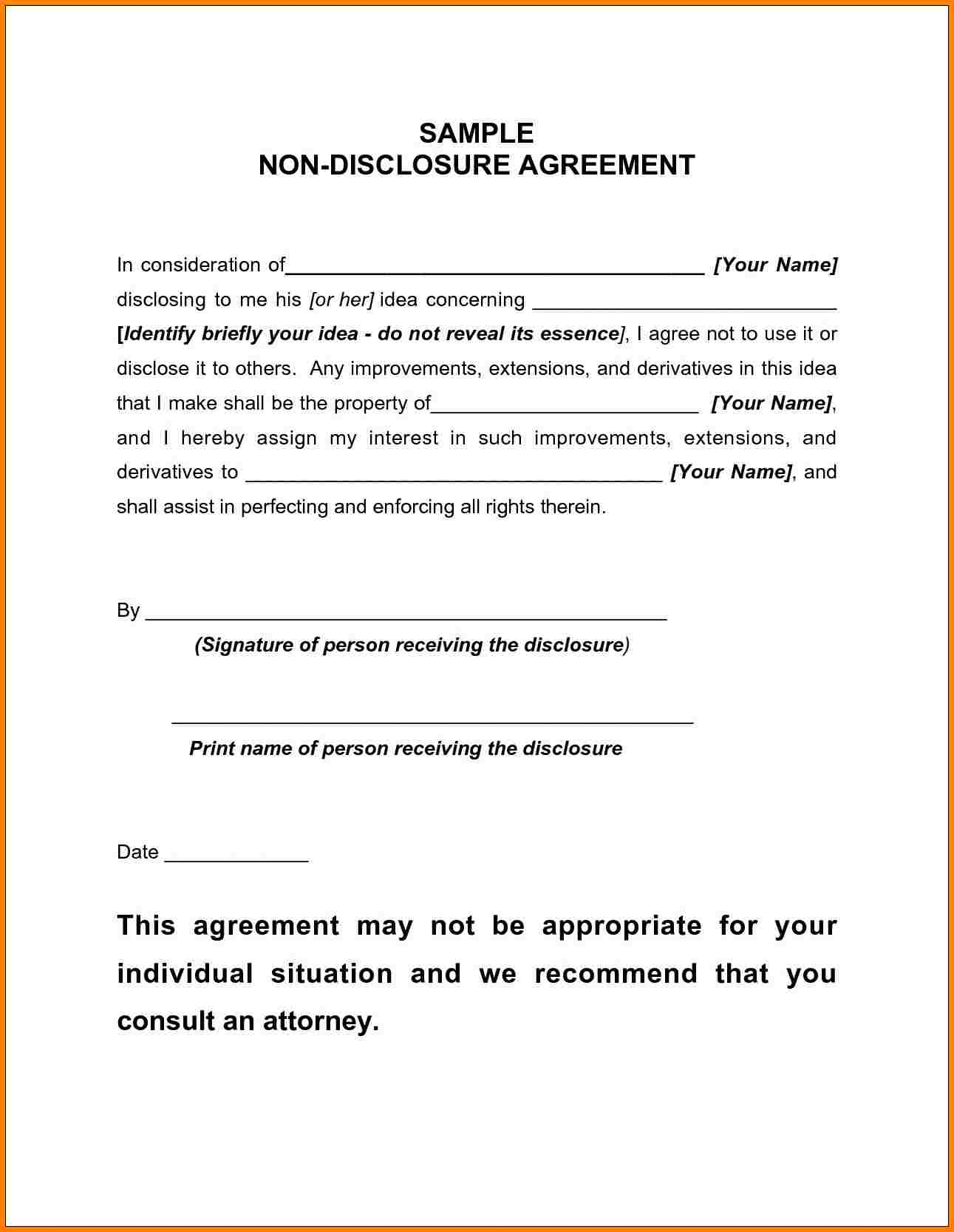 Non Disclosure Agreement Template Startup And Non Disclosure Agreement Sample For Employee