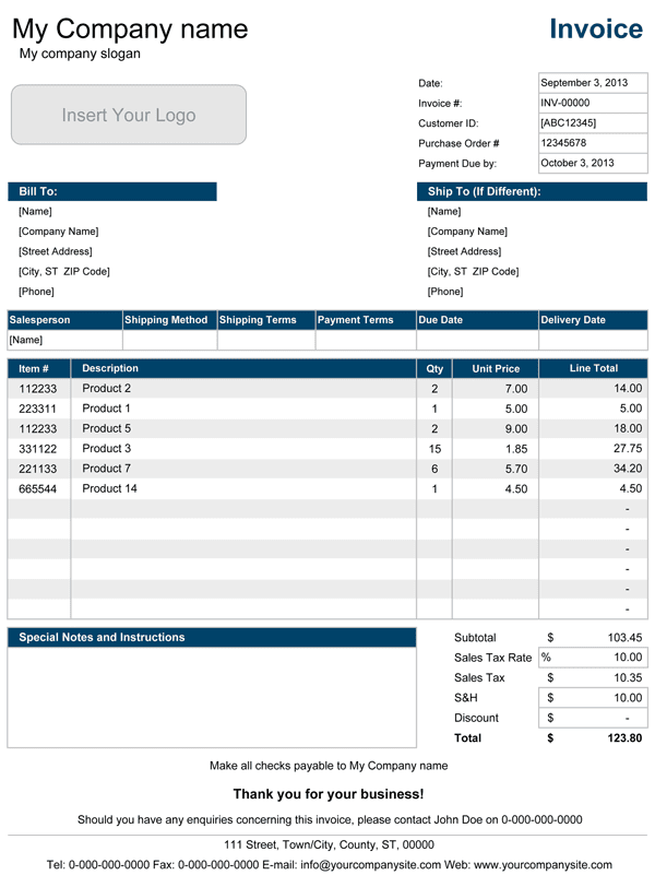 Sales Tax Invoice Format In Excel And Invoice Template With Sales Tax
