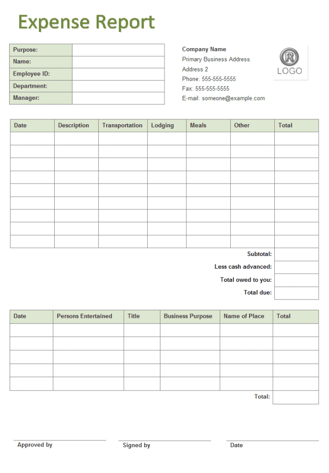 Travel Expense Report Template And Business Expense Tracking Spreadsheet