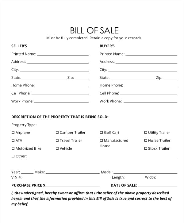 Vehicle Bill Of Sale Template Fillable Pdf And Motor Vehicle Bill Of Sale Template Free