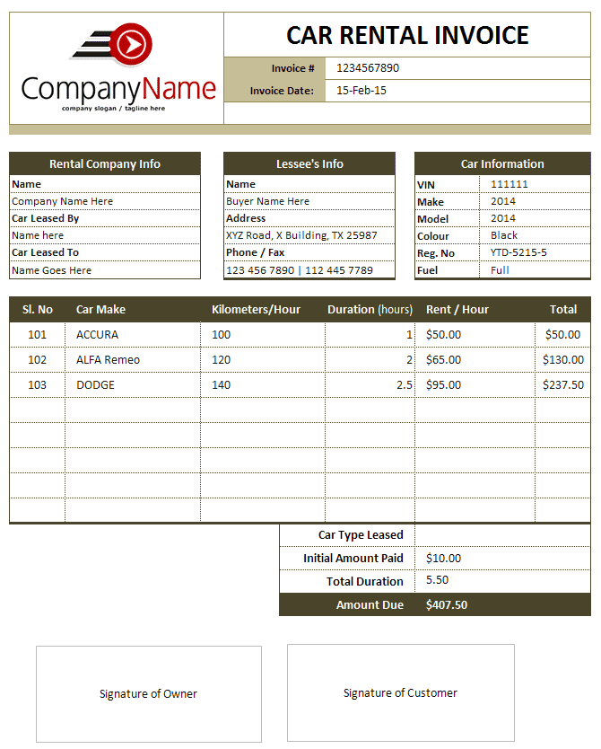 Automotive Invoice Template Download And Automotive Invoice Software Template