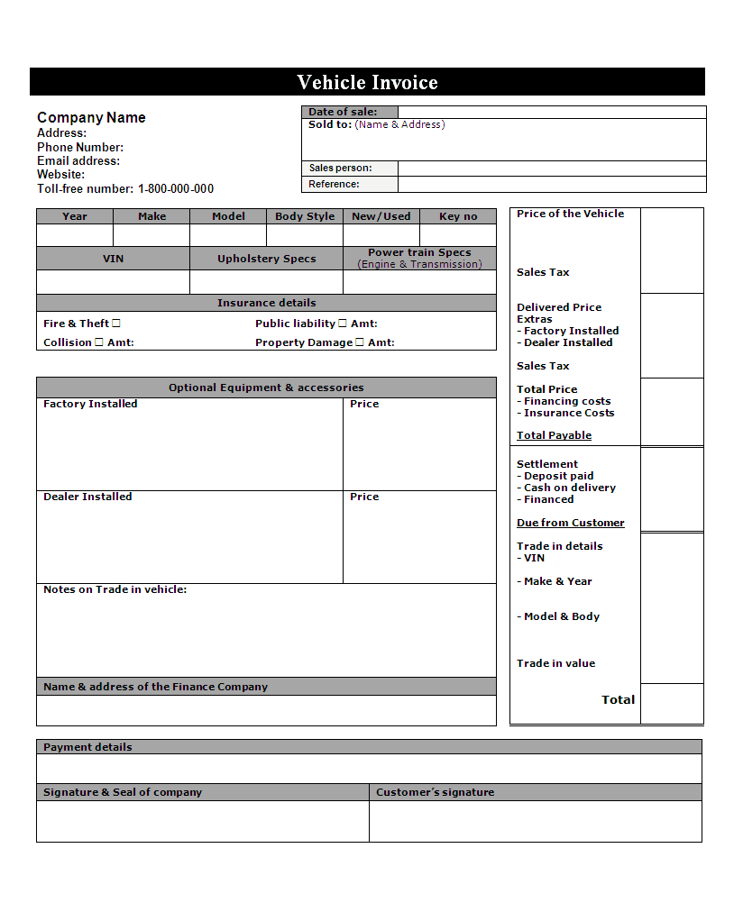 Automotive Workshop Invoice Template And Auto Repair Invoice Template Pdf