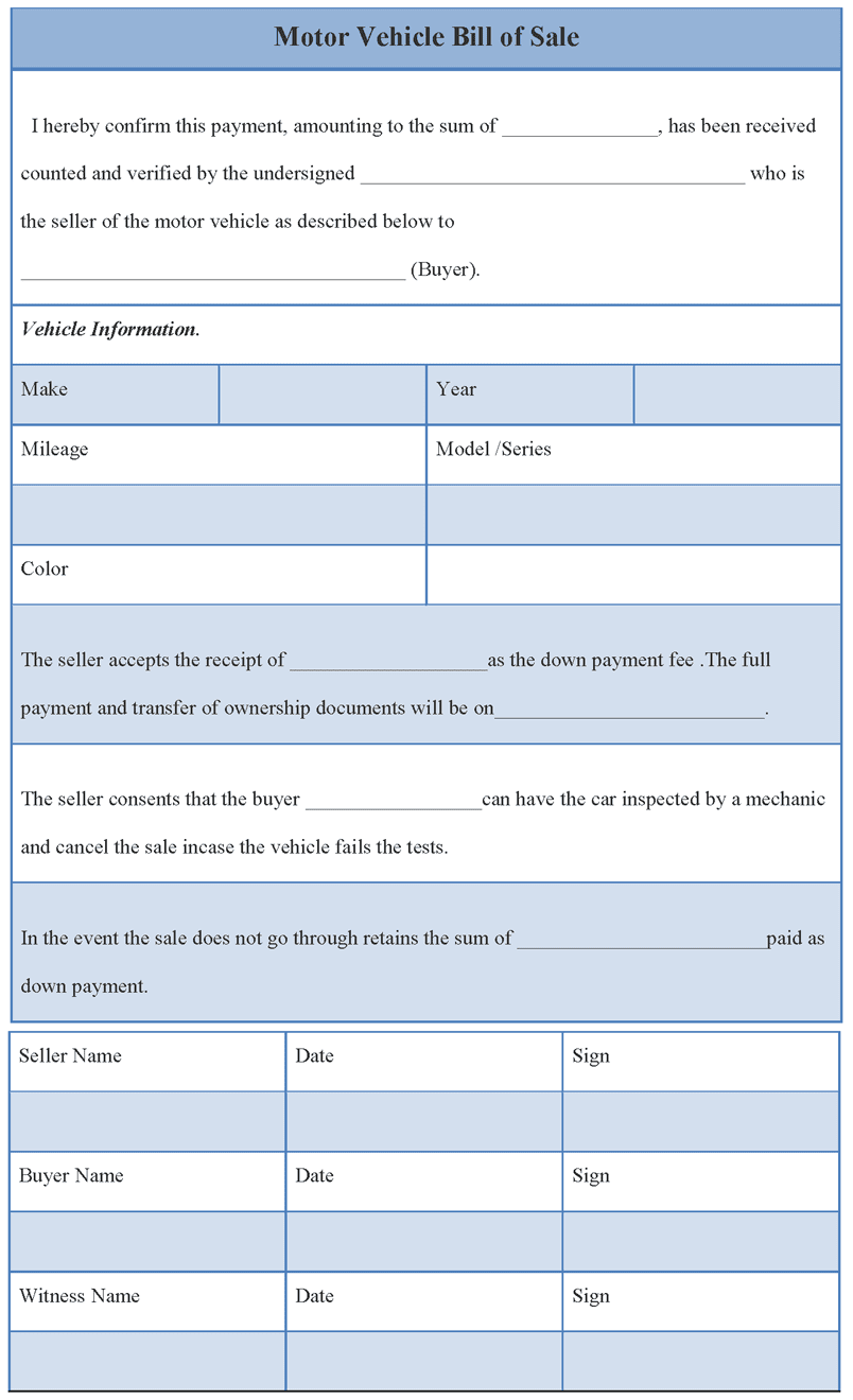 Bill Of Sale For Used Car Template And Bill Of Sale For Motor Vehicle Template
