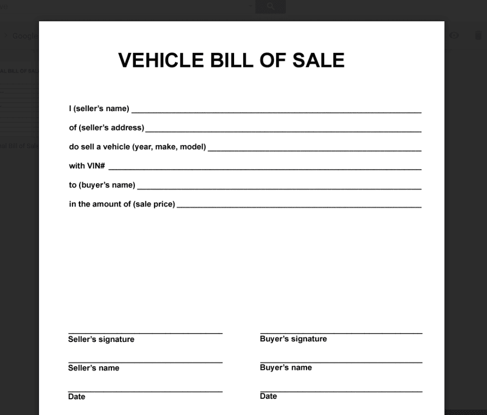 Bill Of Sale Template Pdf And Car Bill Of Sale Form Template