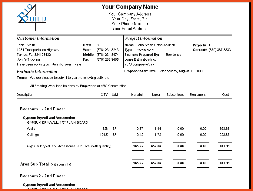 Construction Bid Sheet Template And Free Printable Bid Proposal Forms
