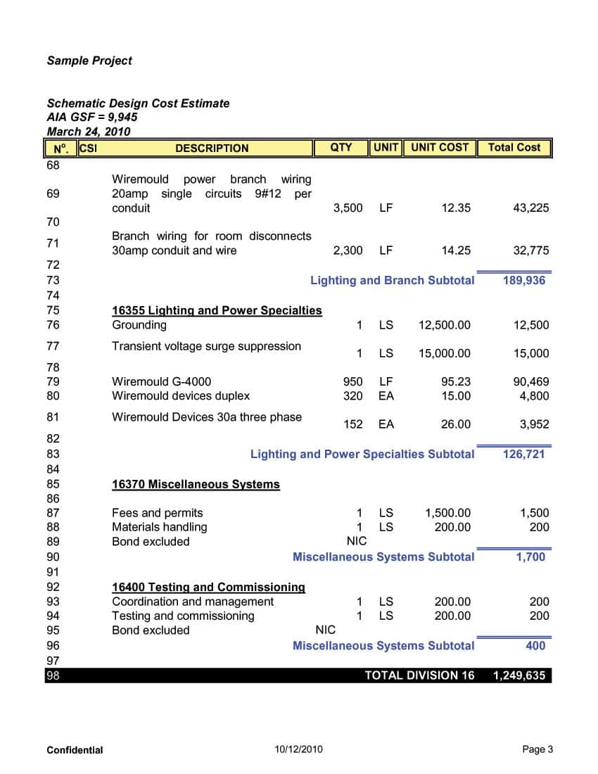 Construction Cost Estimate Sample And Construction Estimate Spreadsheet Template Free