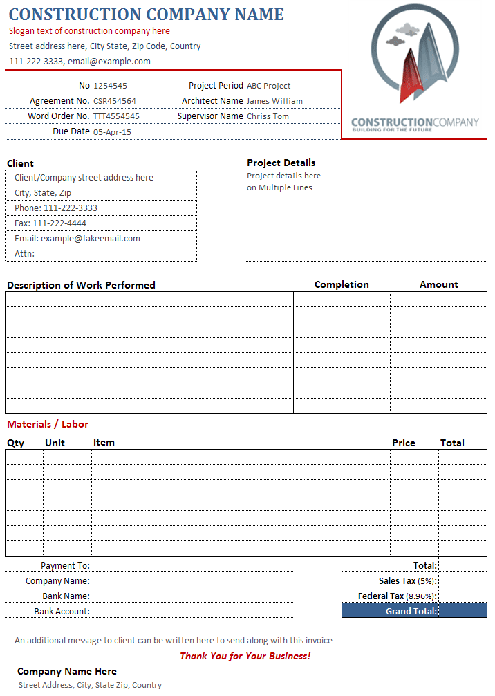 Construction Invoice Template Pdf And Construction Bill Of Sale Template