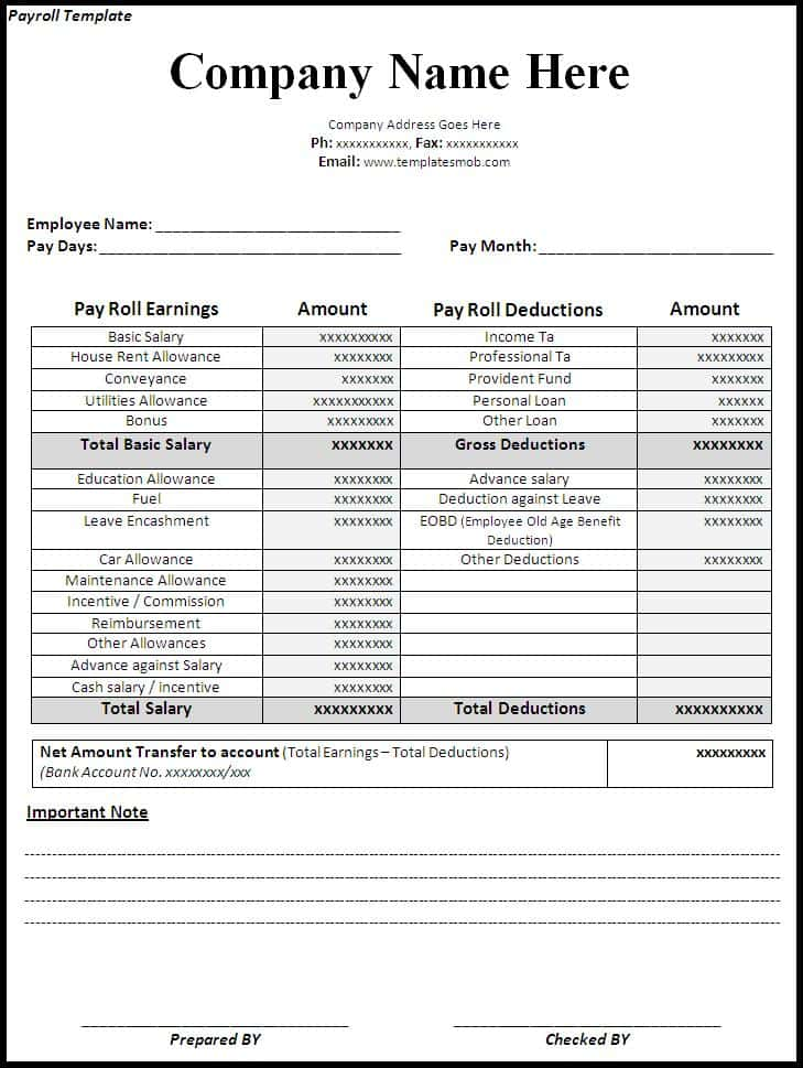 Excel Payroll Template 2017 And Free Pay Stub Generator
