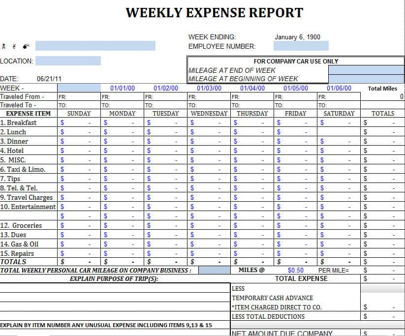 Expense Template For Home And Household Budget Worksheet