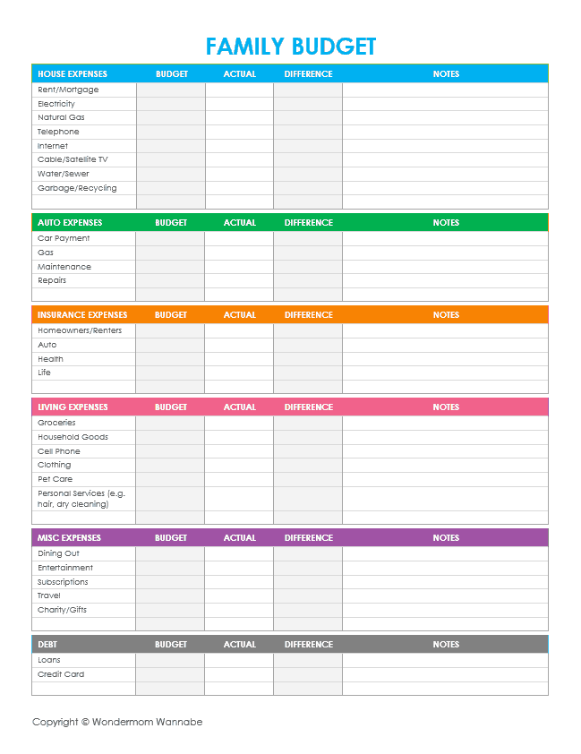 Household Budget Template Printable And Family Budget Worksheet Printable
