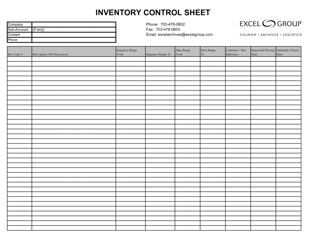 Inventory Control Template With Count Sheet And Easy Inventory Spreadsheet