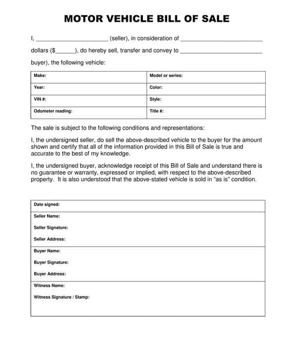 Motor Vehicle Bill Of Sale Word Document And Motor Vehicle Bill Of Sale Template Australia
