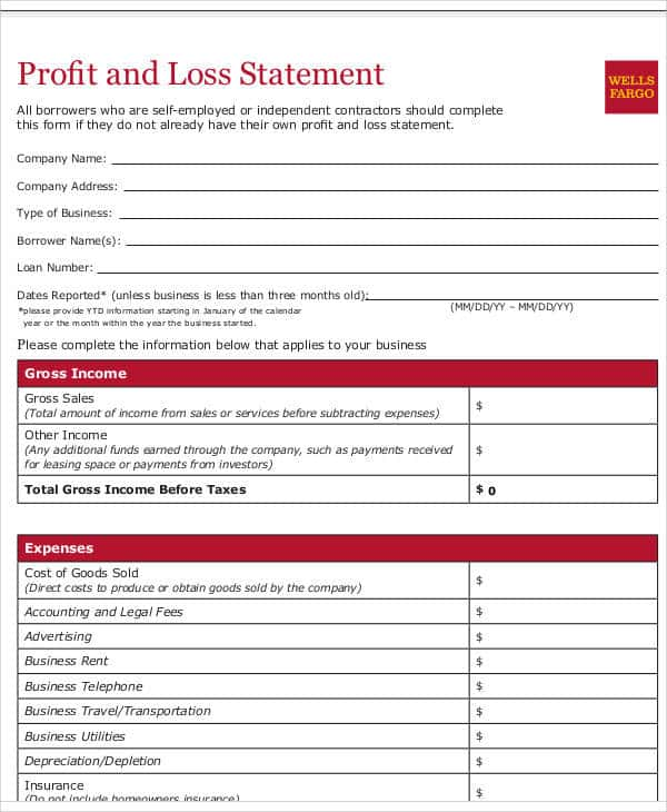 Profit And Loss Statement Irs Forms And Profit And Loss Statement Form Pdf