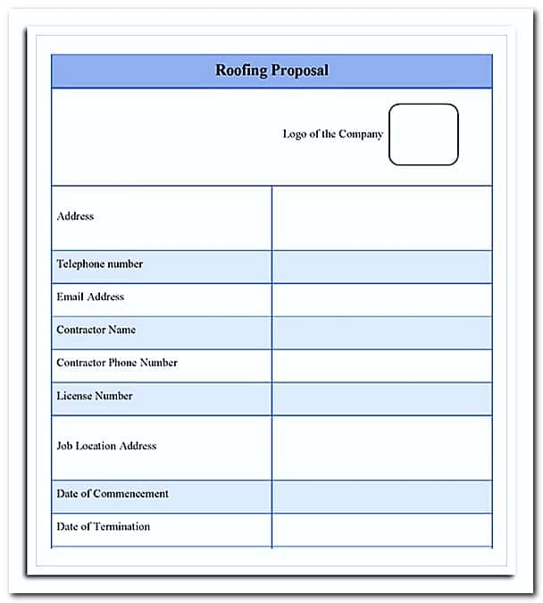 Roofing Estimate Template Free And Roof Estimate Forms Download