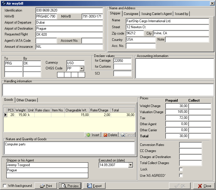 Air Waybill Example And Air Waybill Software