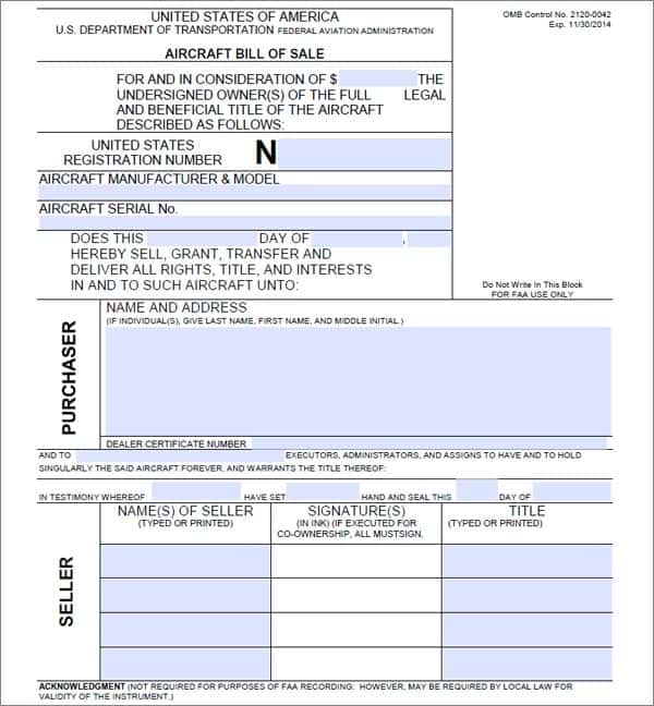 Bill Of Sale Agreement Template And Word Document Template For Bill Of Sale