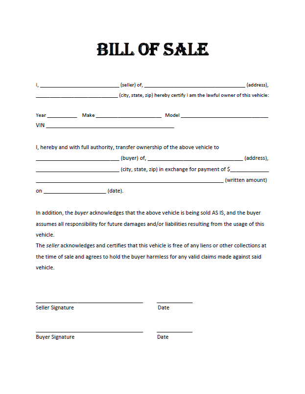 Bill Of Sale Template Pdf And Online Bill Of Sale Template