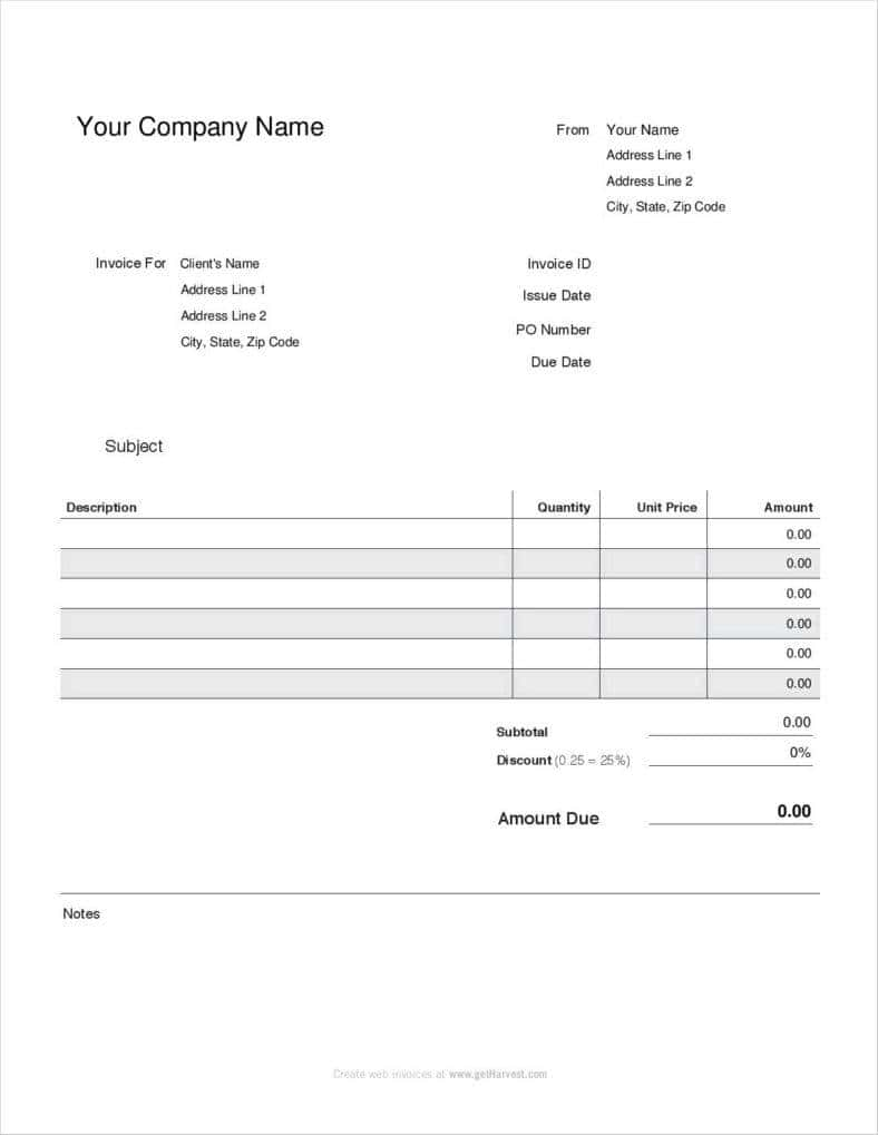 Blank Invoice Template Word And Edit Invoice Template