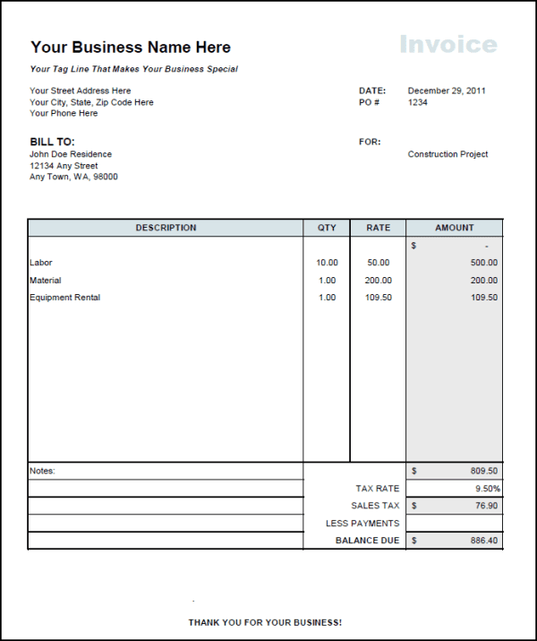 Contract Employee Invoice Format And Labor Invoice Template
