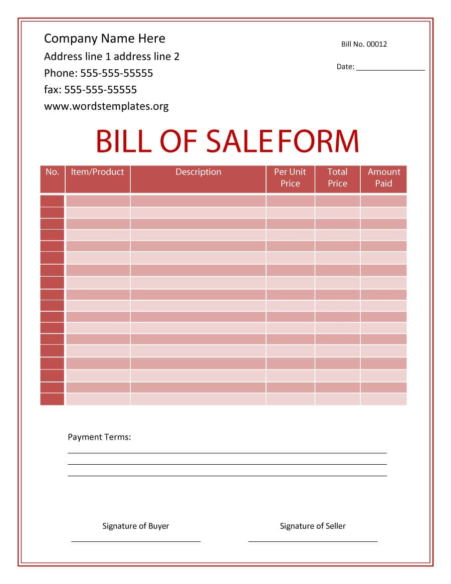 Free Bill Of Sales For Car Template And Printable Bill Of Sale